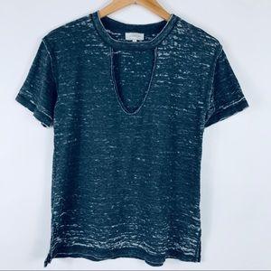 Lucky Brand Burnout Tee T Shirt Choker Deep V Neck